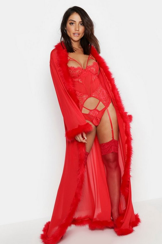 Premium Fluffy Trim Maxi Robe