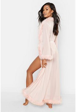 Womens Blush Premium Fluffy Trim Maxi Robe