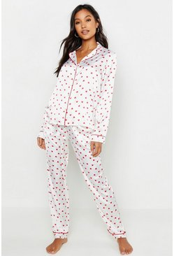 Womens Cream Ditsy Heart Satin PJ Set