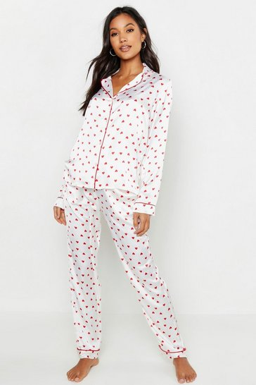 Cream Ditsy Heart Satin PJ Set