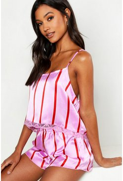 Womens Pink Skinny Stripe Cami & Short Set