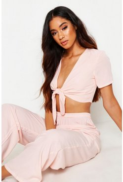 Womens Blush Tie Front PJ Set