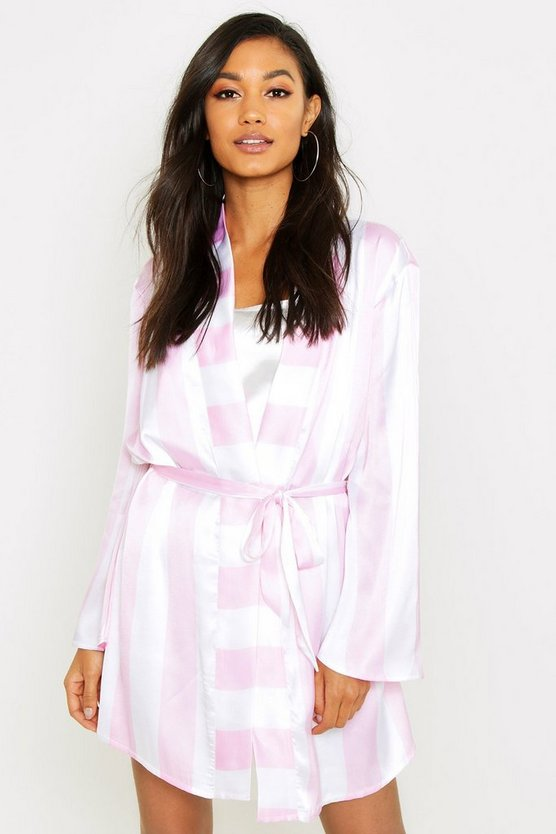 Womens Pink Wide Candy Stripe Robe