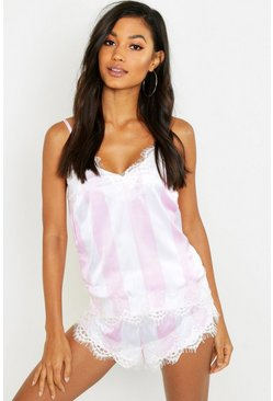 Womens Pink Wide Candy Stripe Eyelash Cami Short Set
