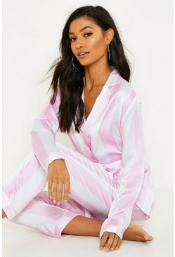 Womens Pink Wide Candy Stripe Belted PJ Set