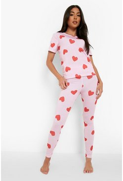 Womens Pink All Over Heart Print PJ Set