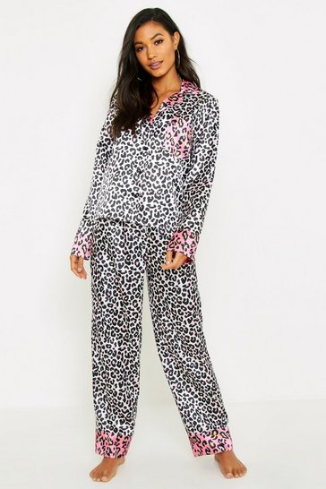 Womens Cream Contrast Leopard Satin PJ Set