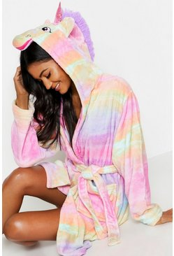 Womens Pink Rainbow Ombre Unicorn Robe