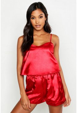 Womens Red Satin Crop Vest & Short Set
