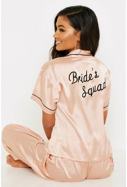 Womens Rose Gold Brides Squad Embroidered PJs