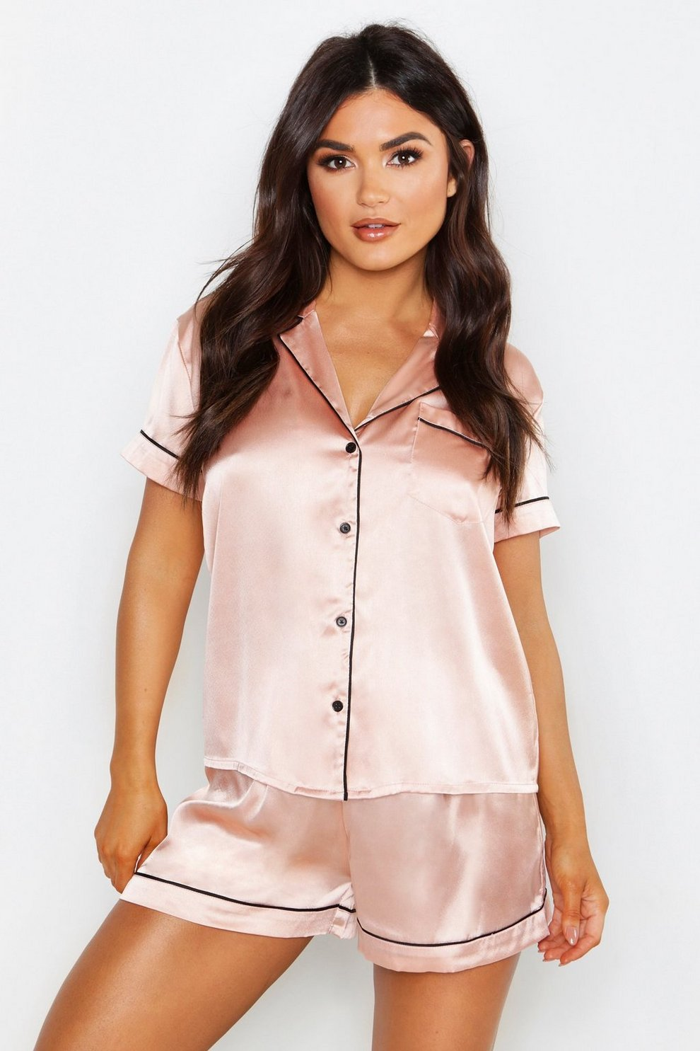 49fc1520d Womens Rose gold Satin PJ Short Set with Contrast Piping