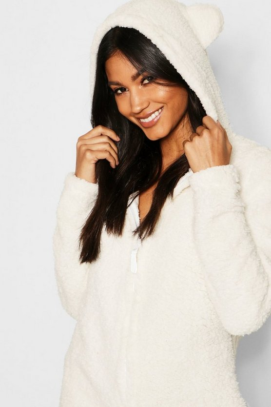 Womens Cream Snuggle Bear Onesie