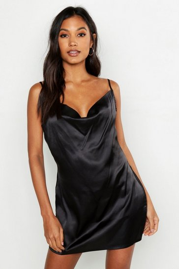 Womens Black Cowl Neck Satin Slip
