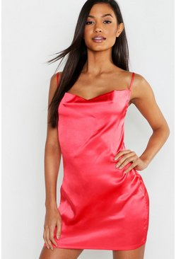 Womens Red Cowl Neck Satin Slip
