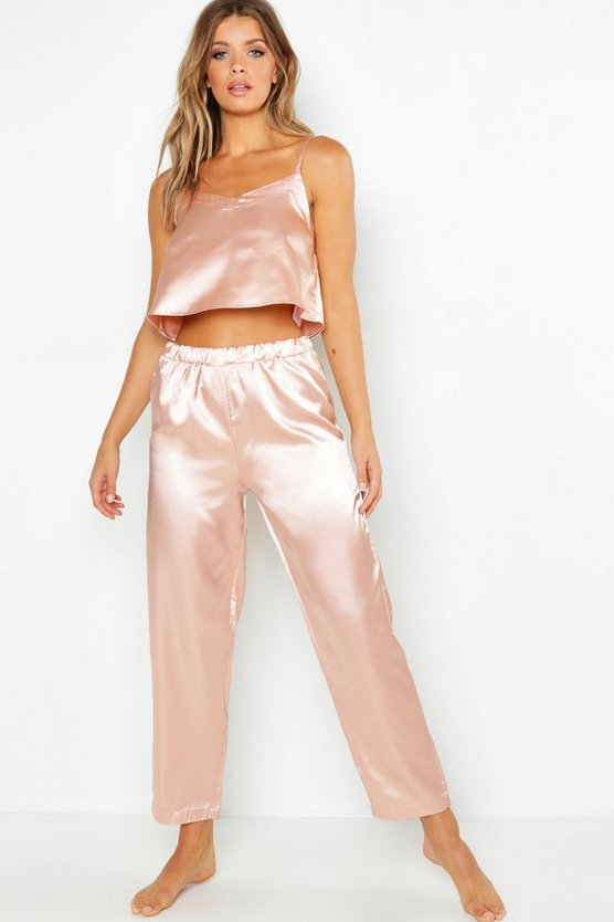 Womens Rose gold Satin Crop Cami &  PJ Set