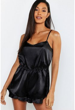 Womens Black Ruffle Hem Satin Teddy