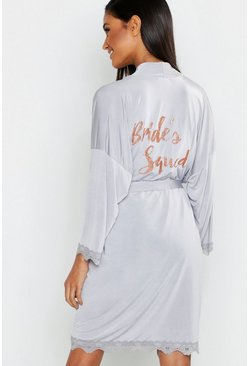 Womens Grey Glitter Brides Squad Robe
