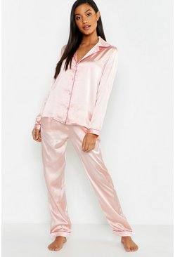 Womens Blush Satin Button Through PJ Trouser Set