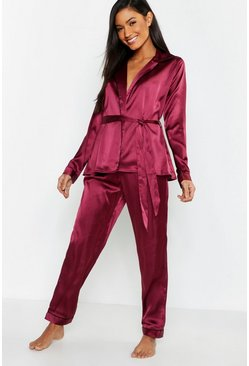 Womens Burgundy Wrap Front Belted PJ Set