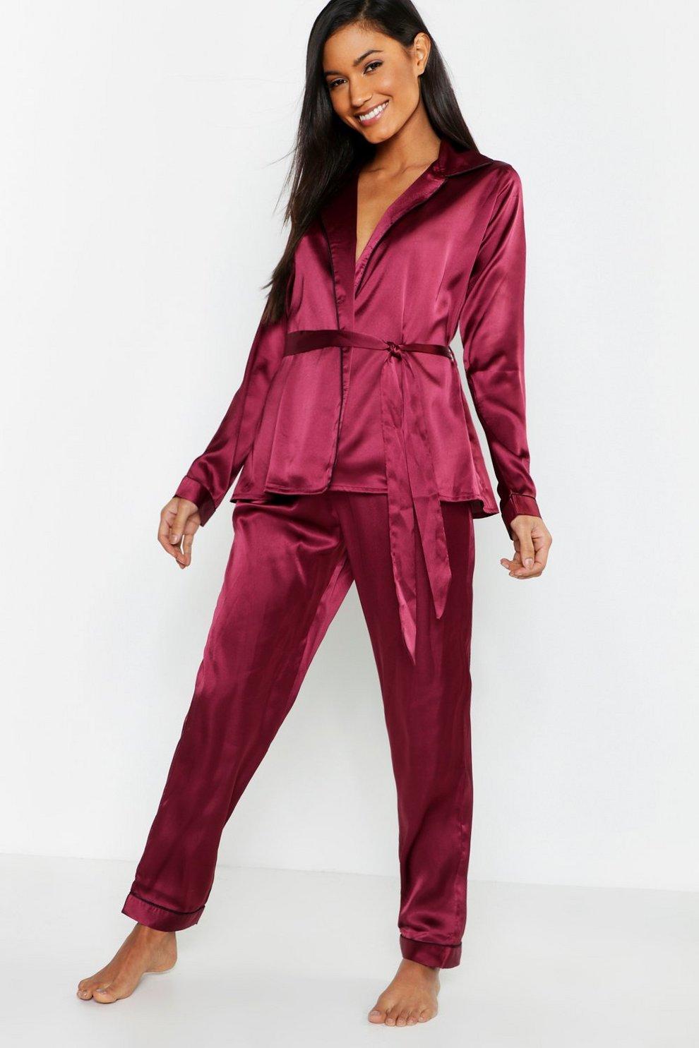d712118a08e Womens Burgundy Wrap Front Belted PJ Set