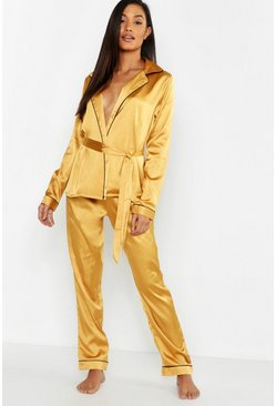 Womens Gold Premium Wrap Front Belted PJ Set