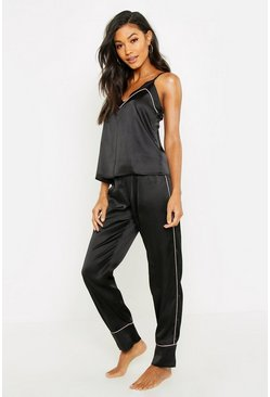 Womens Black Piped Cami & Trouser PJ Set