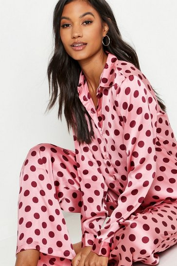Womens Pink Spot Print Satin PJ Set