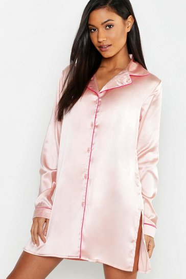 Womens Blush Satin Button Through Nightshirt