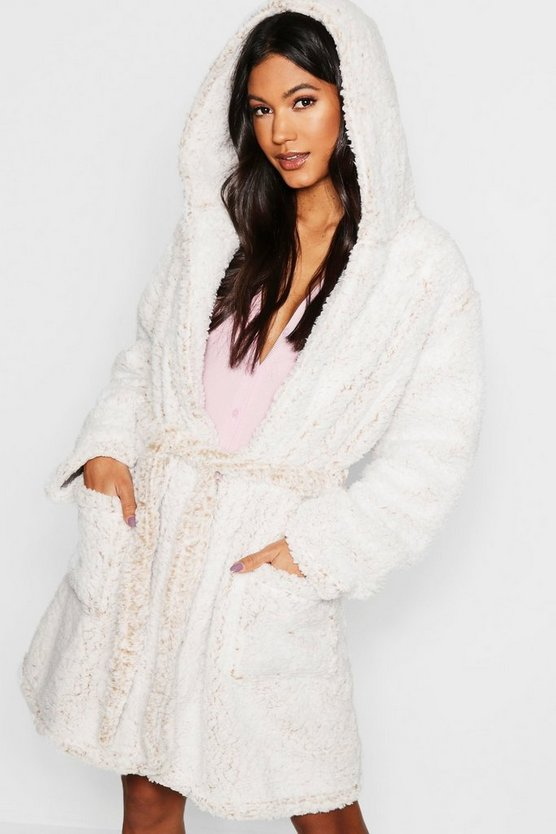 Womens Cream Supersoft Teddy Fleece Dressing Gown