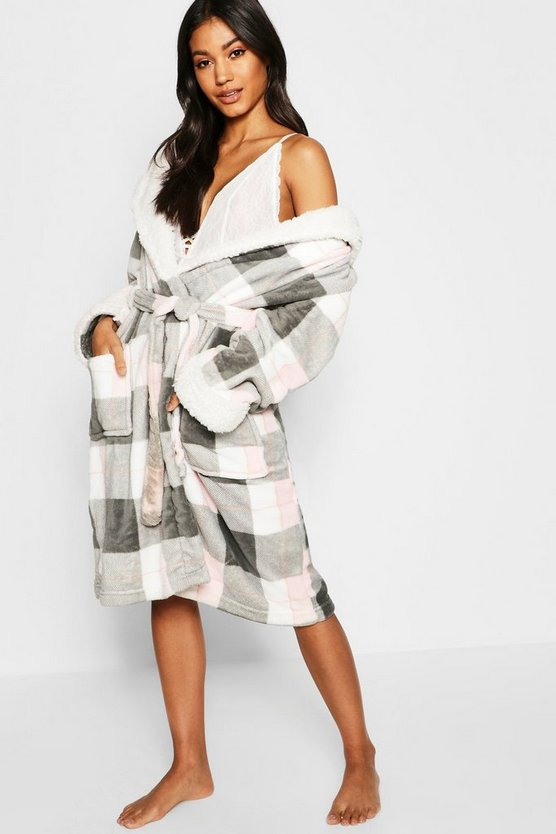 Supersoft Check Print Dressing Gown