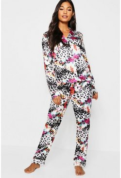 Womens Black Leopard & Floral Long Sleeve PJ Set