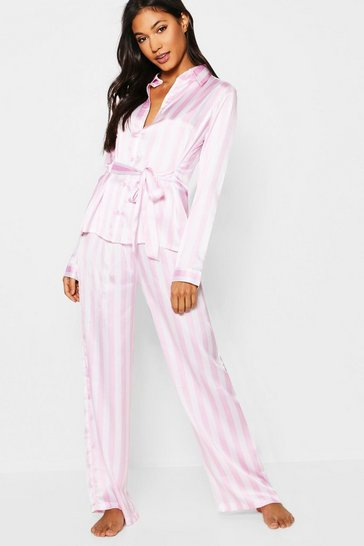 Womens Pink Stripe Satin Button Through Tie Front PJ Set