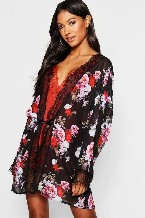 Womens Black Floral Chiffon & Lace Dressing Gown