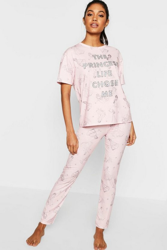 Womens Pink Disney Princess Glitter PJ Set