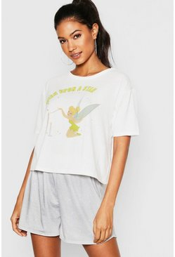 Womens White Disney Tinkerbell PJ Short Set