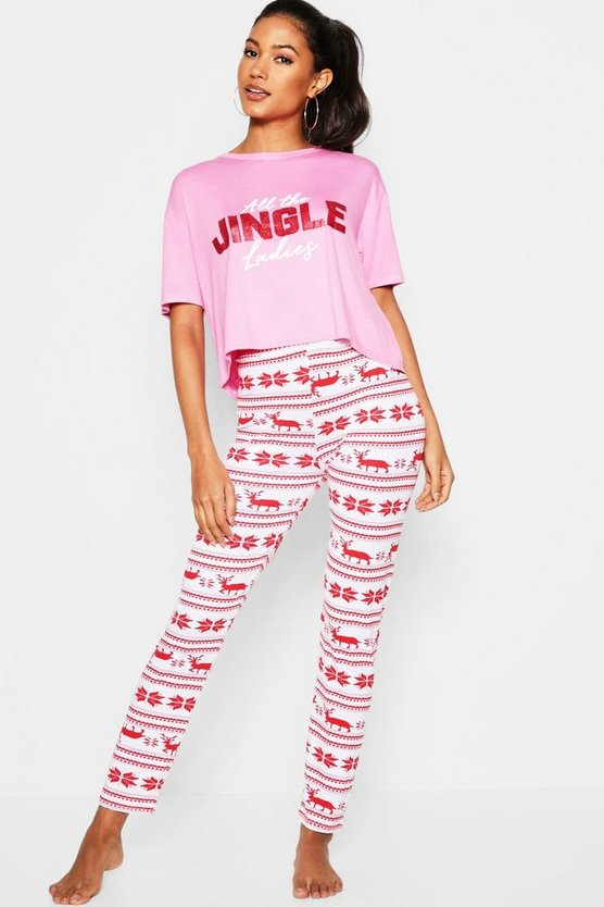 Red Festive Jingle Ladies Glitter PJ set