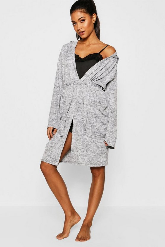 Womens Grey Knit Supersoft Lounge Gown