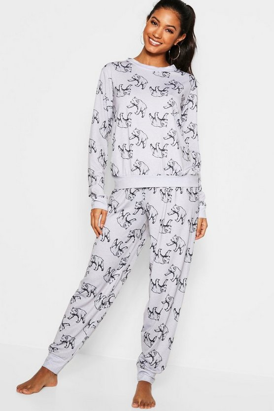 Womens Grey Sketchy Bear Lounge PJ Set