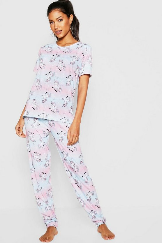 Womens Blue Ombre Unicorn Star PJ Set