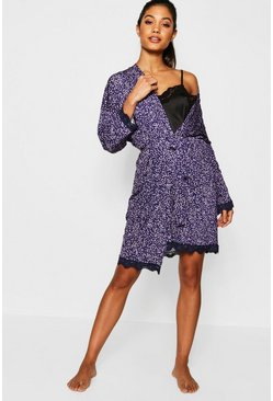 Womens Navy Star Print Lace Detail Robe