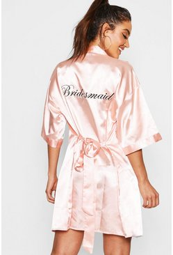Womens Blush Bridesmaid Satin Robe
