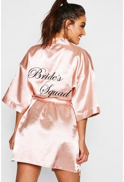 "Rose gold ""Bride's squad"" morgonrock i satin"