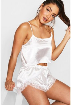 Womens Cream Bridal Satin Cami & Eyelash Lace Short Set
