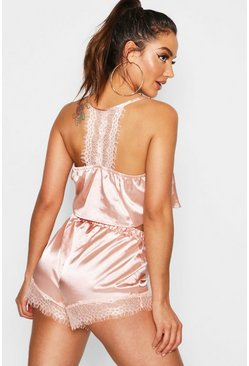 Womens Rose gold Lace Racer Back Satin Cami & Short Set
