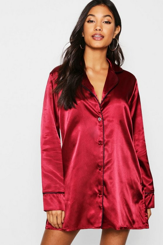 Womens Burgundy Satin Button Through Night Shirt