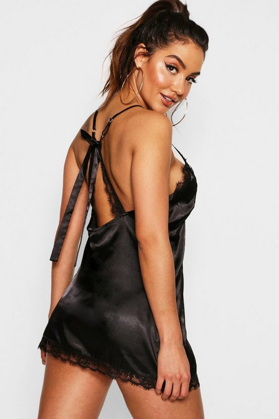 Womens Black Satin & Lace Bow Back Slip