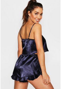 Womens Navy Satin Crop Vest & Short Set