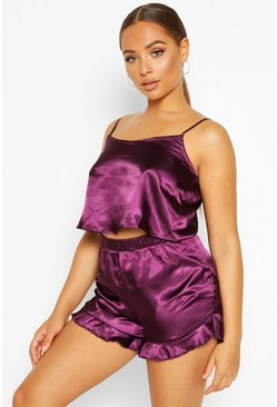 Kurzes Tank Top & Shorts Set aus Satin, Plum
