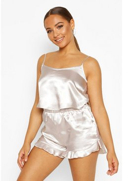 Womens Silver Satin Crop Vest & Short Set