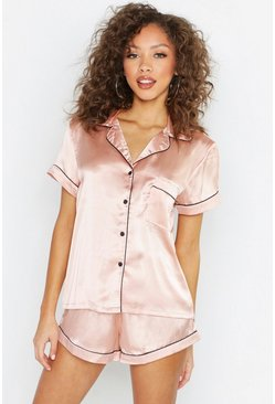 Womens Rose gold Satin Pj Short Set With Contrast Piping